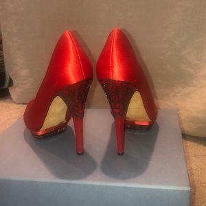BCBGmaxazria red peep toe heels